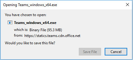 Opening Teams_windows_x64.exe windows prompt to save the file