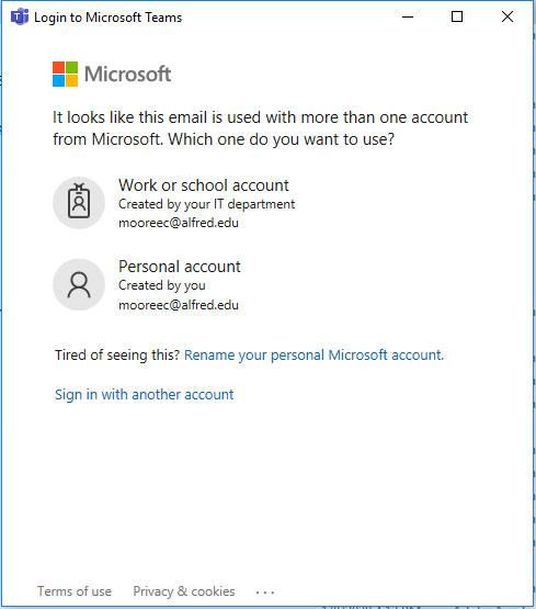 Login to Microsoft Teams window. Choose Work or school account.